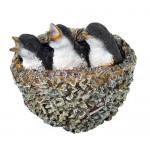 Фигура декоративная Птенцы в гнезде навесная, 16*19 см