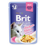Корм для кошек влажный BRIT Premium с курицей в желе пауч, 85г