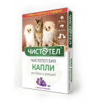 Капли от блох и клещей ЧИСТОТЕЛ Био для кошек и собак в упаковке, 2 шт