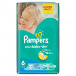 Подгузники PAMPERS Active Baby-Dry extra large 6 (15кг+) Jumbo pack, 54шт