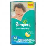 Подгузники PAMPERS Active Baby-Dry maxi plus 4 (9-16кг) Jumbo pack, 62шт