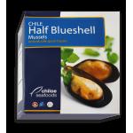 Мидии голубые Mutilus Chilensis 60/80 на половинках раковин варено-мороженые