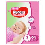 Подгузники для девочек HUGGIES Ultra Comfort 3 (5-9кг), 94 шт