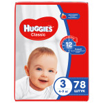 Подгузники HUGGIES Classic 3 (4-9кг), 78шт