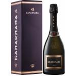 Выдержанное БАЛАКЛАВА вино игристое белое брют, в подарочной упаковке 0.75 л