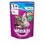 Влажный корм для кошек WHISKAS паштет с лососем 85 грамм