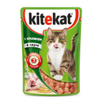 Влажный корм для кошек KITEKAT с сочными кусочками кролика в соусе 85 грамм