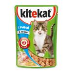 Влажный корм для кошек KITEKAT с сочными кусочками рыбы в соусе 85 грамм