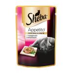 Влажный корм для взрослых кошек SHEBA Appetito ломтики в желе. Говядина и кролик 85 грамм