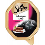 Влажный корм для взрослых кошек SHEBA Delicatesso Патэ с говядиной 85 грамм