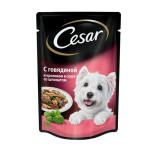 Влажный корм CESAR для взрослых собак, говядина и кролик в соусе со шпинатом 100 грамм
