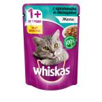 Влажный корм для кошек WHISKAS желе с кроликом и овощами 85 грамм