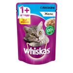 Влажный корм для кошек WHISKAS желе с лососем 85 грамм