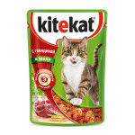 Влажный корм для кошек KITEKAT с сочными кусочками говядины в желе 85 грамм