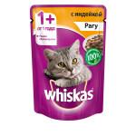 Влажный корм для кошек WHISKAS рагус индейкой 85г