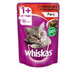 Влажный корм для кошек WHISKAS рагус говядиной и ягненком 85г