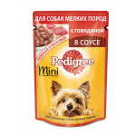 Влажный корм для взрослых собак мелких пород PEDIGREE с говядиной в соусе 85 грамм