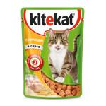 Влажный корм для кошек KITEKAT с сочными кусочками курицы в соусе 85 грамм