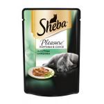 Влажный корм для взрослых кошек SHEBA Pleasure ломтики в соусе. Курица и кролик 85 грамм