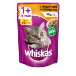 Влажный корм для кошек WHISKAS желе с индейкой 85 грамм
