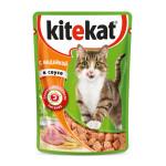 Влажный корм для кошек KITEKAT с сочными кусочками индейки в соусе 85 грамм