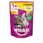 Влажный корм для кошек WHISKAS желе с курицей 85 грамм