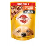 Влажный корм для собак PEDIGREE для взрослых собак всех пород с телятиной и печенью в желе 100 грамм