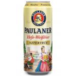 Пиво светлое PAULANER Hefe-Weisbier железная банка, 0,5л