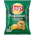 Чипсы рифленые LAY`S Сыр и лук, 80 г