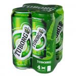 Пиво TUBORG Green железная банка мегапак, 4х0,45 л