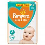 Подгузники PAMPERS SLEEP&PLAY 6-10 кг, 78 шт