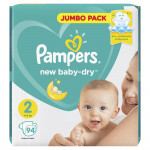 Подгузники PAMPERS Newborn jumbo mini 2 (3-6кг), 94шт