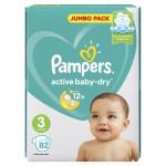 Подгузники PAMPERS Active Baby-Dry midi 3 (4-9кг) Jumbo pack, 82шт