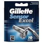 Кассеты для бритвенного станка GILLETTE sensor exсеl, 10шт