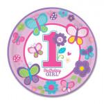 Тарелка 1-й день рождения, ДЕВОЧКА 25 см 8 шт