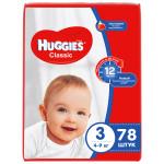 Подгузники HUGGIES Classic 3 (4-9кг), 78шт.
