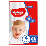 Подгузники HUGGIES Classic 4 (7-18кг), 68 шт.