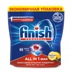 Таблетки для посудомоечных машин FINISH All in 1 Лимон в упаковке, 65шт