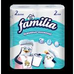Полотенца бумажные FAMILIA белые 2 слоя, 2 рулона