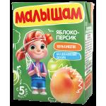 Нектар МАЛЫШАМ яблоко-персик, 0,2 л