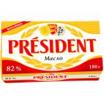 Масло PRESIDENT сливочное 82%, 180 г