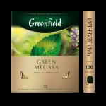 Чай GREENFIELD Green Melissa зеленый пакетированный, 100х1,5г